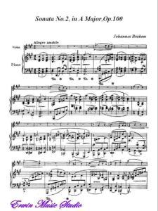 约翰内斯·勃拉姆斯-A大调第二小提琴奏鸣曲 作品100钢琴伴奏谱