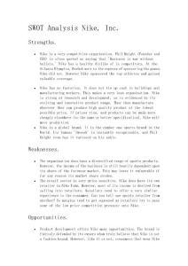 耐克公司SWOT分析;SWOT Analysis Nike