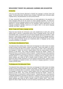 Behaviorist theory on language acquisition:行为主义理论对语言习得