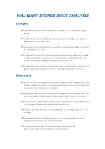 沃尔玛零售店SWOT分析;WAL-MART STORES SWOT ANALYSIS;