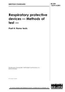 【BS英国标准】BS EN 13274-4-2001 Respiratory protective devices - Methods of test - Part 4 Flame tests