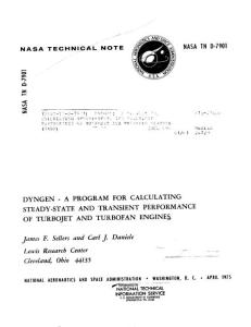 1975 -DYNGEN - A program for calculating steady-state and transient performance of turbojet and turbofan engines
