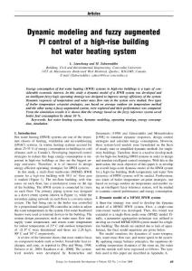 Dynamic modeling and fuzzy augmented PI control of a high-rise building hot water heating system