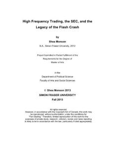 High Frequency Trading  the SEC  and the Legacy of the Flash...