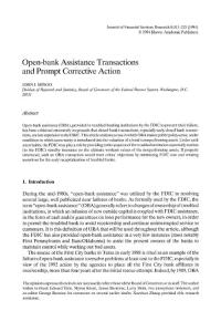 Open-bank assistance transactions and prompt corrective action