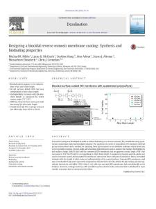 designing a biocidal reverse on osmosis membrane coating synthesis and biofouling properties