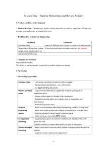 CPIM DSP - Session Nine Study Notes