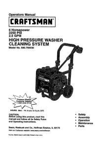 Operators Manual 2.5 GPM HIGH PRESSURE WASHER ...