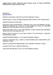 Applied Linear Algebra  1988  Ben Noble  Kitchen  James W...