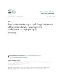 Loyalty of online faculty A work design perspective of the...