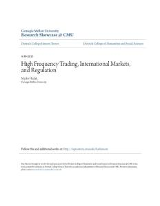 High Frequency Trading  International Markets  and Regulation
