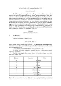 A Users´ Guide to Government Phonology (GP) Notice to the reader