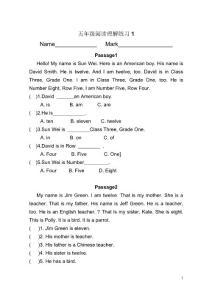 英语同步练习题考试题试卷教案小学五年级英语阅读理解(1)