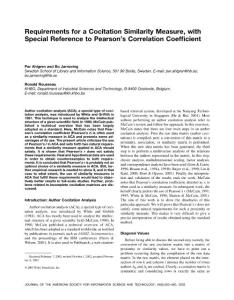 requirements for a cocitation similarity measure  with special reference to pearson´s correlation coefficient