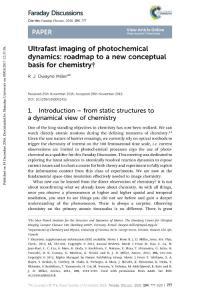 ultrafast imaging of photochemical dynamics roadmap to a new conceptual basis for chemistry.超快的成像光化学动力学路线图化学新概念基础
