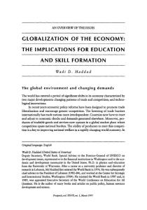 globalization of the economy the implications for education and skill formation