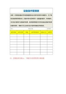 设备备件管理表