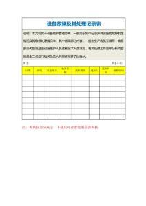 设备故障及其处理记录表