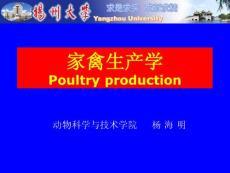 畜牧学(扬州大学)禽生产学部分-第一章 绪论