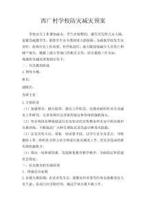 西广村学校防灾减灾预案