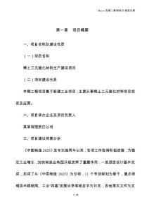稀土三元催化材料制造项目建议书