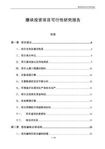 磨块投资项目可行性研究报告