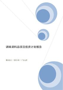 调味调料品项目投资计划报告