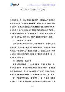 【工作总结】20XX年网络销售工作总结.docx