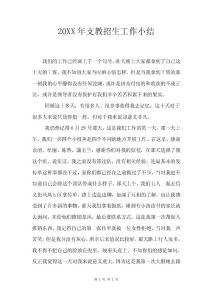 20XX年支教招生工作小结.doc