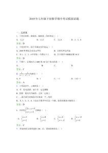 2019年七年级下册数学期中考试模拟试题WF