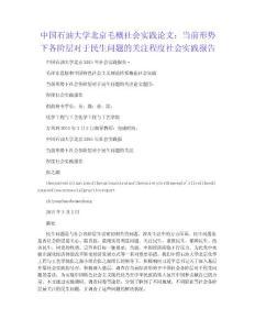 中国石油大学北京毛概社会实践论文:当前形势下各阶层对于民生问题的关注程度社会实践报告