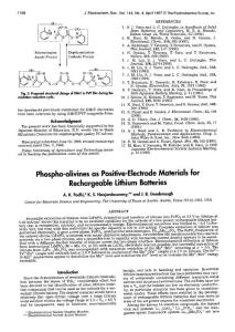 1997 LiFePO4 锂离子电池专业文献  J. B. Goodenough 开山之作 Phospho-olivines as Positive-Electrode Materials for Rechargeable Lithium Batteries
