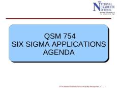 QSM754 SIX SIGMA APPLICATIONS AGENDA