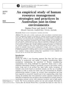 An empirical study of human resource management strategies and practices in Australian just-in-time environments