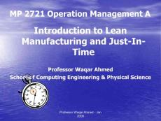 Operations Managament  Lecture 10 Just in Time A2