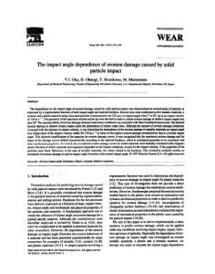 The impact angle dependence of erosion damage caused by solid particle impact