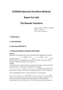 ELEM018 Advanced Transform Methods Lab2 Final Report