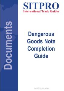 Dangerous Goods Note Completion Guide