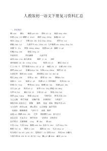 人教版初一语文下册复习资料汇总.doc