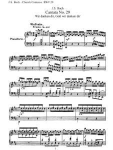 巴赫康塔塔 Cantata BWV29 上帝,我们感谢您 (Wir danken dir, Gott, Wir danken dir) 人声与钢琴 钢琴伴奏 伴唱 Bach钢琴谱