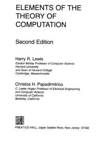 Elements of the Theory of Computation Lewis H R Papadimitriou C H