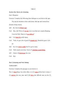 施心远主编《听力教程》1 (第2版)Unit 12听力原文和答案