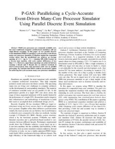 P-GAS  Parallelizing a Cycle-Accurate Event-Driven Many-Core Processor Simulator Using Parallel Discrete Event Simulation