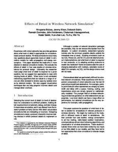 在不同仿真平台上无线仿真建模细节对结果的影响Effects of Detail in Wireless Network Simulation
