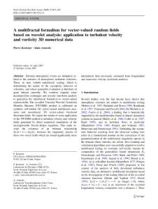 A multifractal formalism for vector-valued random fields based on wavelet analysis application to turbulent velocity and vorticity 3D numerical data