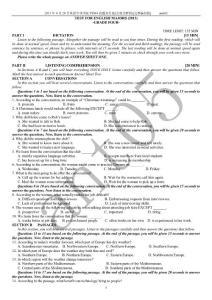 2013年4月20日英语专四TEM4真题及答案[完整编排版]