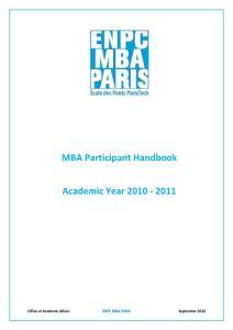MBA Participant Handbook - ENPC School of International