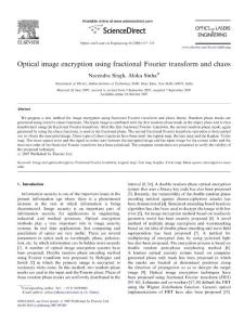 Optical image encryption using fractional Fourier transform and chaos
