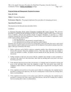 Program Design and Management Program Governance