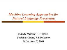 Machine Learning Approaches for Natural Language Processing机器学习方法用于自然语言处理